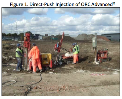 fig-1-orc-direct-injection Rapid Reduction of Petroleum Hydrocarbons using ORC Advanced® allows for Redevelopment of Site