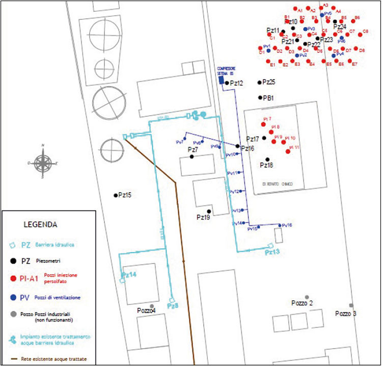 03_Site-Map-Injection-points Treating Aniline Compounds at a Former Pharmaceutical Plant