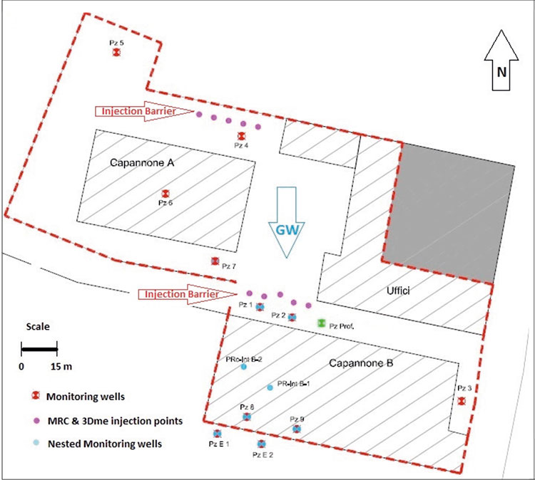 24_CS_Reg_1412_KrM37159_ChromeVI_MRC_3DMe_IT-2-SIte-Map-Injection-Barriers In Situ Hexavalent Chromium Remediation, Northern Italy
