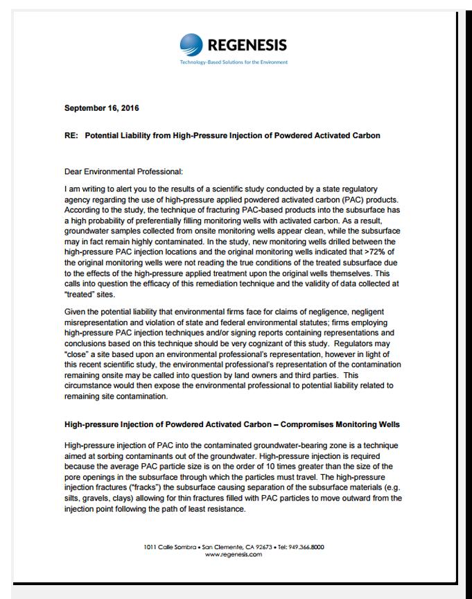 letter from REGENESIS CEO Scott Wilson
